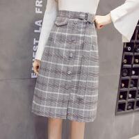 格子半身裙女中长款2017秋季新款韩版高腰百搭A字裙包臀裙一步裙 黑白格子