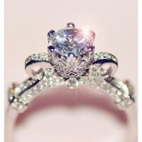 925银豪华皇冠花瓣仿真钻戒钻石戒指女对戒情侣戒指女求婚钻戒 us5内径1.57 铜镶版