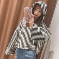 春装女装韩版个性破洞条纹短款套头卫衣抽绳连帽T恤学生上衣外套 图片色 均码