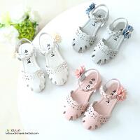 夏季新款女童凉鞋公主鞋包头儿童沙滩鞋宝宝鞋编织女童鞋