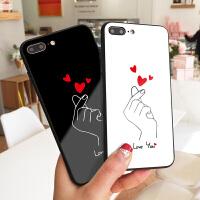 比爱心个性创意iPhone8手机壳潮牌6plus镜面玻璃壳情侣款XS MAX手绘画图7硅胶全包边X防摔秀恩爱7P网红潮