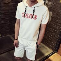 休闲套装男夏季潮流韩版连帽T恤男短袖短裤套薄衣服帅气运动装