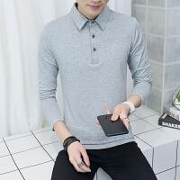 有领男衫男士长袖t恤韩版polo衫翻领男装青少年体��秋天衣服