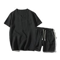 麻短袖男夏季新款休闲运动套装男士加肥大码宽松棉麻恤 男