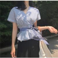 复古韩国i风气质V领后背扣子设计条纹上衣腰带显瘦短袖衬衫女