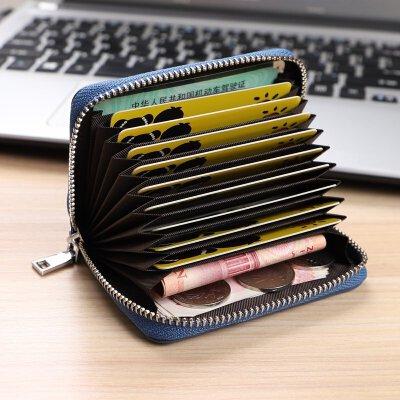 皮皮卡包男士 牛皮多卡位拉链套 女式小证件包零钱包卡片包皮 风琴款 蓝色 9卡位