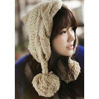 心秀韩国时尚 女士韩版潮尖尖帽护耳帽冬天 可爱大球球针织毛线帽子