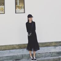 2019夏季新款女装极简主义小黑裙显瘦港味慵懒风超仙连衣裙 黑色