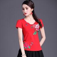中国风女装上衣 夏装民族风女装 短袖刺绣t恤 绣花大码棉打底衫女