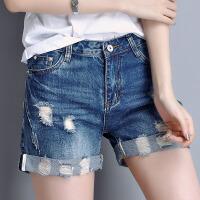 破洞牛仔短裤女士夏装新款韩版裤直筒裤宽松休闲短裤五分裤