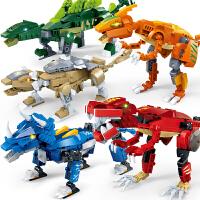 古迪积木拼装玩具男孩儿童益智力开发小颗粒霸王龙恐龙模型