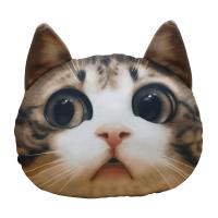 创意仿真3D猫头靠垫喵星人猫咪抱枕居家萌宠搞怪创意玩偶公仔