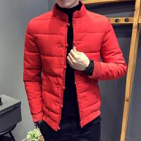 青少年纯色棉袄外套中国风立领修身冬季保暖短款红色