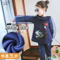 女童上衣2018冬装韩版公主娃娃衫女孩加绒时髦中大童卡通t恤杉潮
