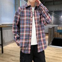 长袖衬衫春秋男韩版潮流青少年学生格子休闲衬衣男生宽松外套衣服