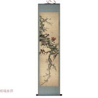 牡丹花鸟卷轴字画丝绸茶楼古典挂画字画可定制条幅四条屏装饰画 * 送挂画钩