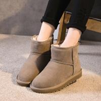 ZHR2018冬季新款内增高雪地靴平底短靴复古高跟单靴加厚真皮女靴