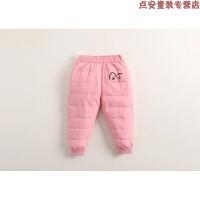 新款儿童羽绒裤童装男童女童外穿长裤冬装小童宝宝加厚羽绒裤 粉红色 按身高拍大一码