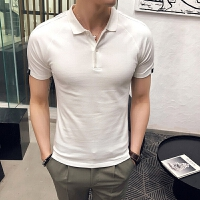 夏季男士韩版修身商务插肩短袖POLO衫青年潮流透气休闲半袖衫T恤