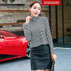 SOOSSN 2018秋装新款修身针织衫条纹打底衫女韩版长袖百搭高领T恤6075