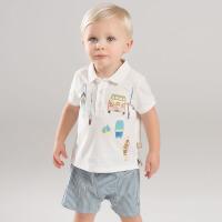 戴维贝拉夏装新款男童套装 宝宝POLO衫短裤套装DBF7066