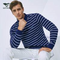 七匹狼T恤 秋冬时尚商务休闲翻领条纹长袖T恤青年男纯棉长袖Polo