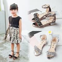 新款夏季女童凉鞋高跟小女孩中大童公主鞋儿童凉鞋女童鞋