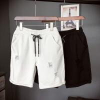 白色黑色五分男士牛仔裤子日系短裤中裤破洞休闲大码牛仔半截裤