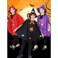 万圣节儿童服装女巫吸血鬼COS巫师斗篷披风男童巫婆公主裙女衣服