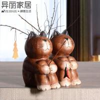 创意个性水族箱鱼缸装饰品实木雕刻小猫钓鱼摆件