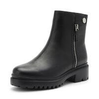 星期六(ST&SAT)冬季专柜同款牛皮革侧拉链粗跟棉靴SS84118821