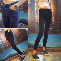 韩版弹力修身显瘦牛仔裤女高腰小脚裤学生铅笔裤紧身长裤黑色