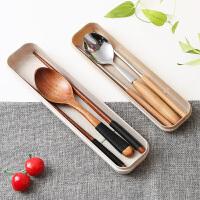 筷子勺子套装学生儿童日韩式三件套木质不锈钢旅行便捷餐具