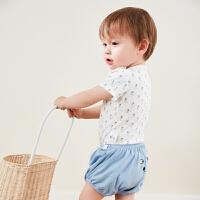 【2件4折】迷你巴拉巴拉婴儿短袖套装夏新款童装男童可爱舒适内着两件套