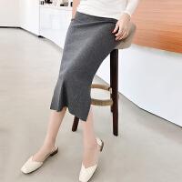 孕妇半身裙2018新款秋冬季韩版开叉包臀裙中长款托腹一步裙