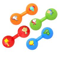 婴儿手抓柄铃铛健身球锻炼手臂哑铃球宝宝充气玩具球