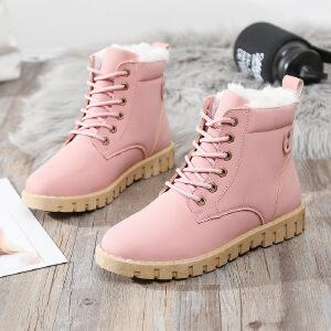雪地靴女棉鞋女加绒保暖女短靴冬季新款棉鞋拼色翻毛加厚保暖雪地靴低帮雪地靴女3310NX