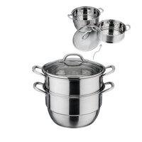 DESLON德世朗DFS-Z036A两层多用蒸锅不锈钢双层蒸锅蒸煮三层复底 可视锅盖 煤气电磁炉锅具