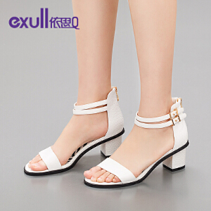 exull/依思Q夏新款凉鞋休闲后拉链舒适露趾粗跟女鞋