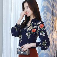 雪纺衫女长袖2018春季新款V领时尚百搭印花上衣韩版显瘦打底衬衫