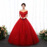 红色一字肩v领婚纱礼服2018新款齐地大码显瘦新娘结婚出门纱女春 红色婚纱