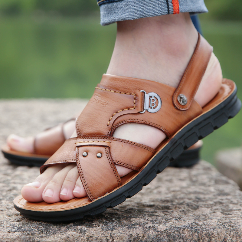 宜驰 EGCHI 夏季凉鞋男士皮凉拖透气头层牛皮沙滩鞋子男11238