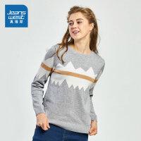 [秒杀价:35.9元,新年不打烊,仅限1.22-31]真维斯女装 冬装新款 全棉圆领拼色绒里长袖针织线衫