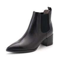 星期六(ST&SAT)冬季专柜同款牛皮革粗跟切尔西女靴SS84116102