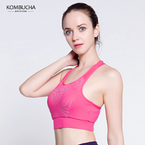 【满100减50/满200减100】Kombucha瑜伽健身内衣女士聚拢定型工字美背夜跑步反光科技防震运动文胸K0257