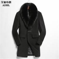 秋青年狐狸领羊毛大衣男中长款修身羊绒呢子大衣男外套风衣 X