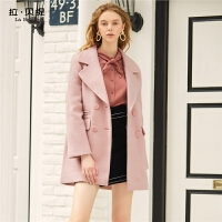 【3折到手价:183】毛呢大衣女新款秋冬粉色赫本森系小个子学生中长款呢子外套