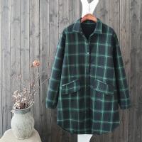 QF33减龄款韩范加绒格子长袖衬衫女修身显瘦保暖文艺打底外套