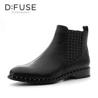 迪芙斯(D:FUSE)冬专柜同款牛皮革圆头休闲切尔西女短靴DF84116172