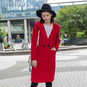 海贝2017冬装新款女装连帽双排扣长袖中长款羊毛呢大衣大红色外套